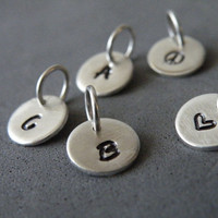 Sterling Silver Monogram Charm Pendants Hand Stamped Charm Bridal Party Bridesmaids Gifts by SteamyLab