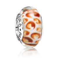 Pandora Orange Python Murano Glass