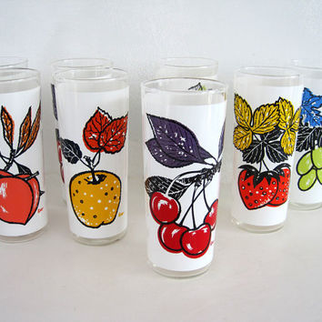 Retro Tumblers Glasses L Elliott Cooler Beverage Glass Fruit Orchard Barware Set