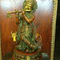 Decorative Krishna Hindu God Statue Brass Figurines Handmade Indian Sculptures