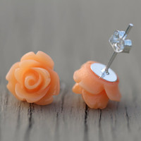 Flower Stud Earrings : Bright Tangerine Orange Flower Stud Earrings, Sterling Silver Plated Earring Posts, Neon, Simple, Fun