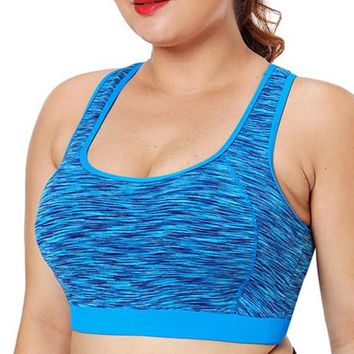 Plus Size Blue Piping Trim Racerback Workout Bra