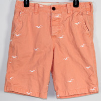 Hollister Shorts Embroidered Logo Button Fly Size 31 Teen Mens