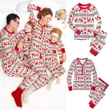 XMAS Kids Baby Boys Girls Clothes Set Pajamas Set Deer Sleepwear Nightwear Pyjamas Gift