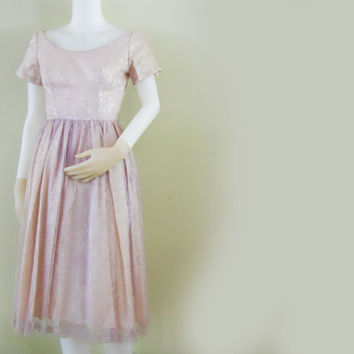 Vintage Party Dress Early 60s Mad Men Juniors PRE-TEEN Lace & Taffeta
