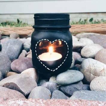 Chalkboard Mason Jar Candle Holder with Heart