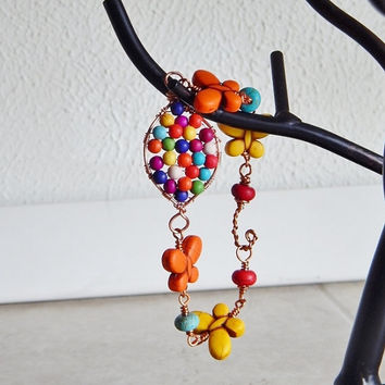 Bracelet Butterfly Bracelet colorful bohemian copper jewelry wire wrapped stone red orange yellow rainbow boho hippie hippy
