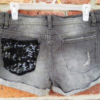 Grey Denim Cutoffs - Gray Jean beach shorts upcycle repurpose black sequin glitter custom decorated embellished