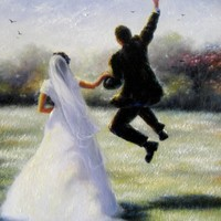 Leap of Love Art Print, bride and groom, paintings, marriage, leaping, wedding, happy couple, Vickie Wade art