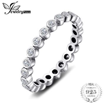Jewelrypalace 100% Solid 925 Sterling Silver Rings Cubic Zirconia Jewelry CZ Stackable Eternity Ring Sets Fashion Women Gifts