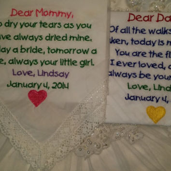Lacy Mom and Striped Dad Personalized Wedding Handkerchief. Gift for the Mother and Father of the Bride FREE Gift Envelope.