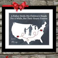 Gift For Dad Birthday Distance Map Hearts Father Quotes Picture Wall Art Print Decor Ideas Daddy From Daughter Son Hand Father's Day