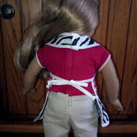 """Matching aprons for girl and 18"""" Doll - zebra and gingham"""