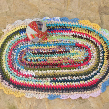 Colorful Crocheted Oval Rag Rug --- Circus ---- Eco Friendly --- Multicolor