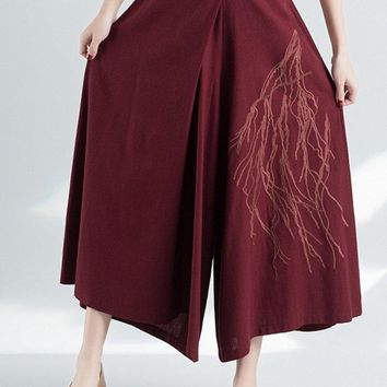 Vintage Embroidery Loose Elastic High Waist Women Pants