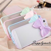"Fashion Clear Matte Soft TPU Bowknot style phone case for iPhone 4 4s Or iPhone 5 5S / 5C or iPhone 6 4.7""/Plus cover case"