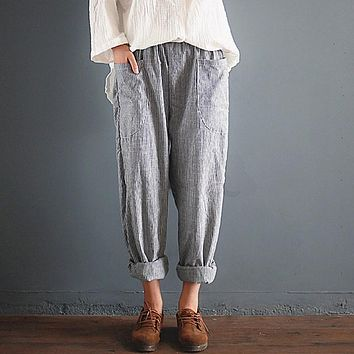 Cool Cotton Baggy Striped Long Roll-Up Pants
