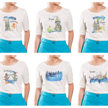 Women Watercolor famous place painting Printed Croptop WTS_05