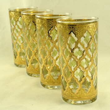 Culver Valencia Highball Collins Glass Cocktail Tumblers - Set of 4 - Green Diamond - 22K Gold - Signed - Vintage MCM Mad Men