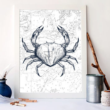 Crab art print, Antique ocean map print, antique nursery decor, bathroom nautical art, nautical home decor, sea life art print, A-1063