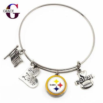 Pittsburgh Steelers Sports Charms Adjustable I Love Football Expandable Women Bangle Bracelets With Ginger Snaps Buttons Jewelry