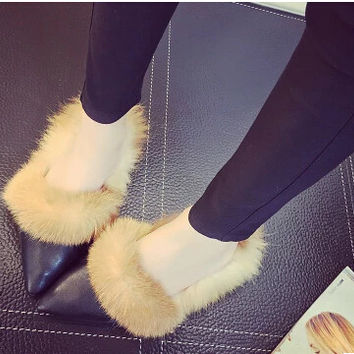 Real Rabbit Fur Slippers Winter Casual Shoes Pointed Toe Women's Sandals Cotton-Padded Female Home Slippers Black Sandalia