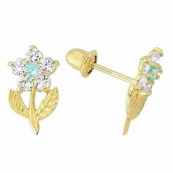 f006a7dcb 14K Yellow Gold Birthstone Flower Stud Earrings for Baby and Children Screw  Back