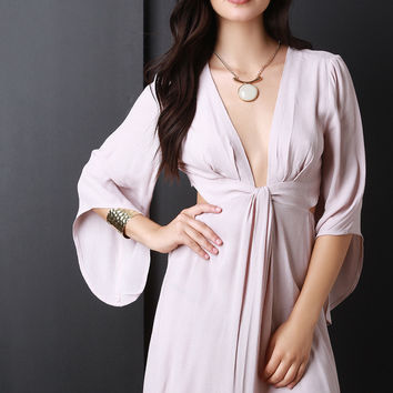 Deep V Neck Bell Sleeve Dress