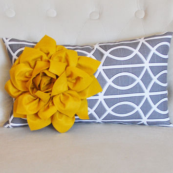 Decorative Throw Pillows - Mustard Dahlia on Charcoal Gray Porta Bella Print Lumbar Pillow -Lattice Decorative Pillow-