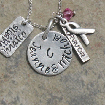 "Hand Stamped Breast Cancer Survior Charm Jewelry ""Family of Strength"" Necklace Sterling Silver Handmade"