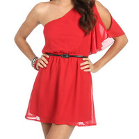 One Shoulder Chiffon Dress | Shop Just Arrived at Wet Seal
