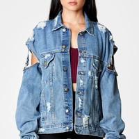 PERSEUS AUDREY OVERSIZED DENIM JACKET WITH ARM STRAP DETAIL