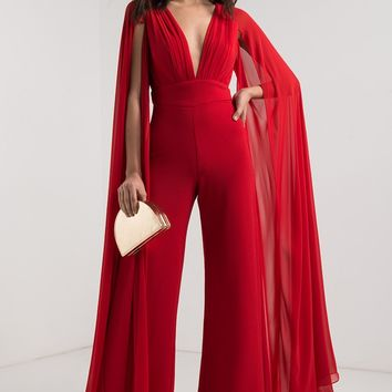 AKIRA Long Sleeve Plunging Neckline Open Back Flare Leg Jumpsuit in Black White, Artisan Gold, Red