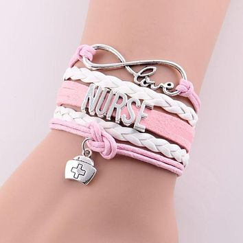 Little Minglou Infinity Love NURSE Hat Charm Leather Wrap Bracelets & Bangles