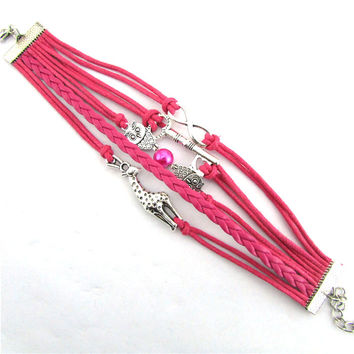 Infinity Owl Giraffe Key Friendship Leather Charm Bracelet Alloy Cute