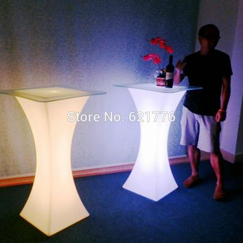 New D45*H110  Colorful LED Square Cocktail Table for coffee station/Party/Hotel/Bar Coffee table LED Small pretty waist light
