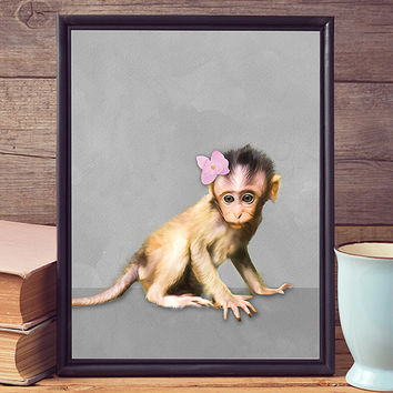 Free to Dream - monkey print, monkey wall art, monkey nursery, wall art printable, wall art prints, nursery prints, wall decor, nursery art
