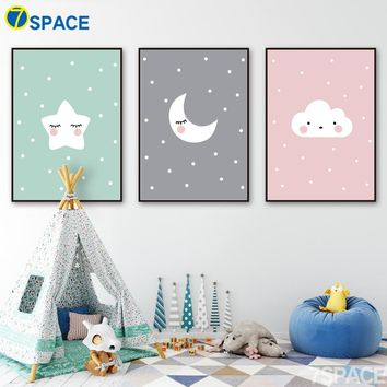 Cartoon Clouds Moon Stars Nordic Poster Wall Art Print Canvas Painting Wall Pictures Baby Kids Room Canvas Prints Home Decor
