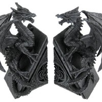 Gothic Dragon Stone Finish Bookends Medieval Book Ends