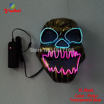 EL wire Halloween Mask Skull LED Mask Flashing EL wire Festival LED Neon Glowing light dance DJ Carnival Party Masks accessories