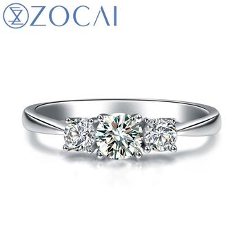 ZOCAI 3 stone diamond Ring 0.50 ct F-G / SI certified diamond engagement ring 18K white gold diamond ring W06054