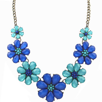 Stylish Shiny New Arrival Jewelry Gift Vintage Rhinestone Floral Crystal Korean Sea Gemstone Necklace [6586260039]