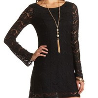 Bell Sleeve Lace Dress by Charlotte Russe - Black