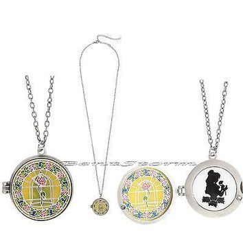 Licensed cool Disney Beauty & Beast Belle Rose Stained Glass Locket Cameo Pendant Necklace