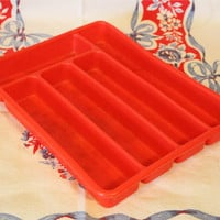 Vintage Plastic Red Silverware Holder- Glamping- Camping- Retro Kitchen- Utensil Tray Storage- Drawer Organizer- Flatware Container- Serving