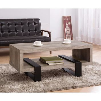 Modern Driftwood Open Shelf Coffee Table, Gray and Brown