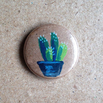 "Succulent Pin // Hand Painted 1"" Pinback button // Cactus"