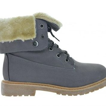 Dream Pair KIMBER Womens Winter Fur Lined Collar Lace Up Cozy Snow Ankle Boots With Durable Outsole Size Red Size 7