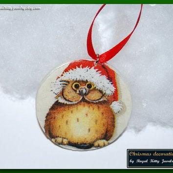Owl Christmas decoration,  handmade Christmas decoration, decoupage decoration, Christmas Ornament, Christmas Gift.