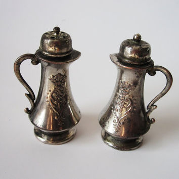 Old Silver Plate Salt and Pepper Shakers 1940's by Latrouvaille